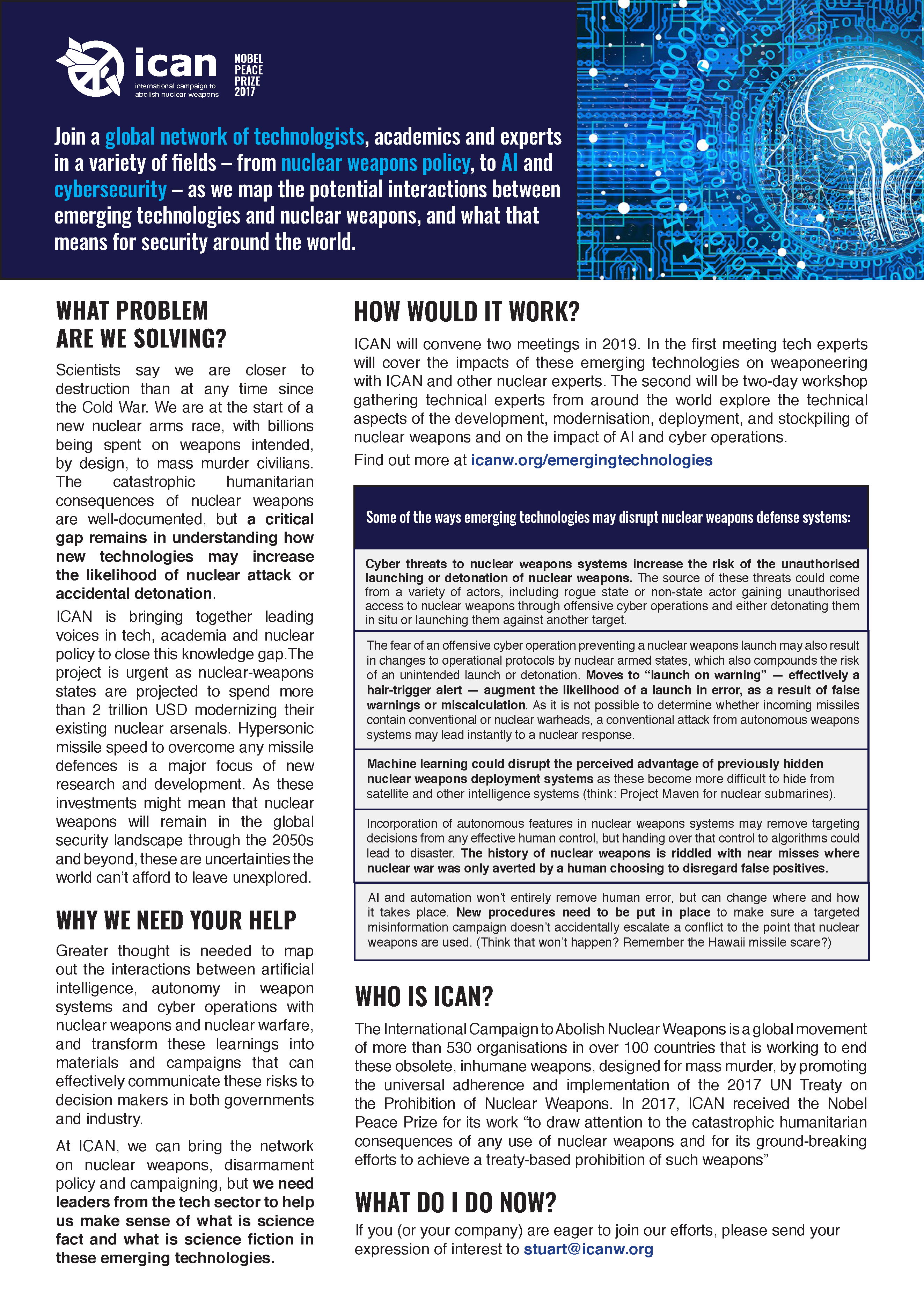 Flyer outlining the ICAN emerging technologies project
