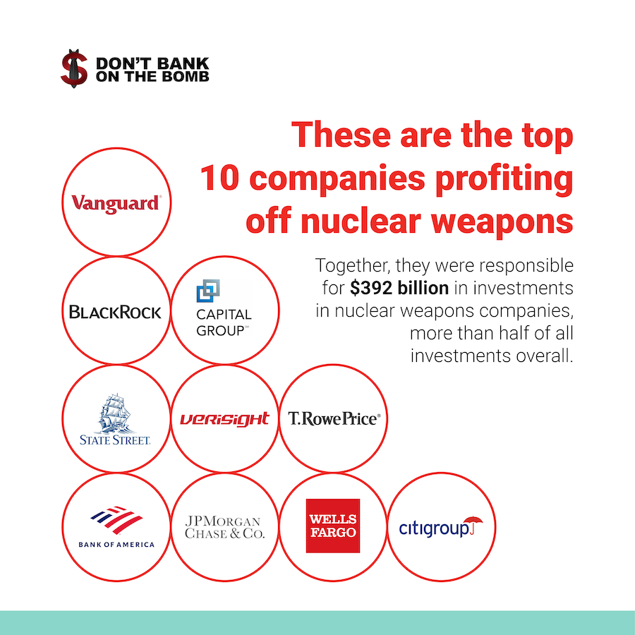 These are the top 10 companies profiting off nuclear weapons: Vanguard, Blackrock, Capital Group, State Street, Verisight, T Rowe Price, Bank of America, JP Morgan Chase Co, Wells Fargo, Citigroup
