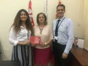 Left to right - Mariem Oueslati, MP Ms Khansa Harrath, Jean-Marie Collin (ICAN France), in the National assembly of Tunisia