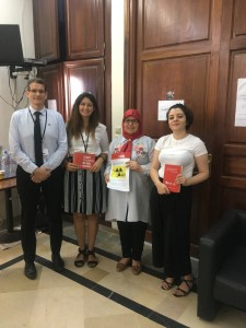Left to right : Jean-Marie Collin (ICAN France), Mariem Oueslati, MP Meherzia Laabidi  , Nour El Imen Gharbi in the National assembly of Tunisia